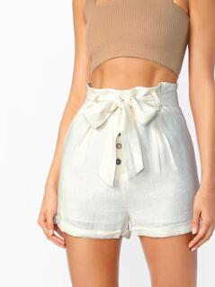 Button Fly High Waist Tie Cuffed Hem Paperbag Shorts