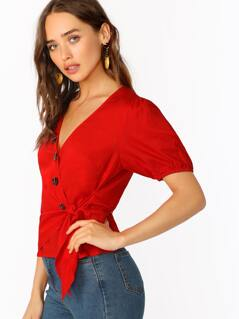 Asymmetric Button Detail Wrap Tie Front Top