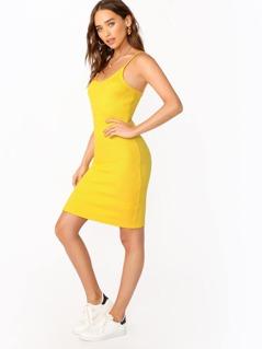 Scoop Neck Rib Knit Knee Length Tank Dress