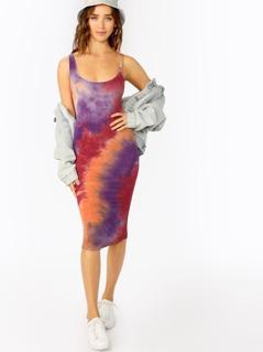 Scoop Neck Jersey Knit Tie Dye Midi Tank Dress