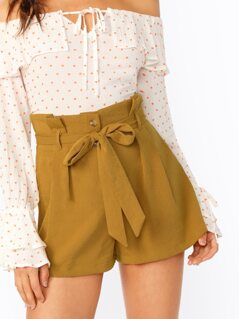 Paperbag High Waisted Button Fly Shorts