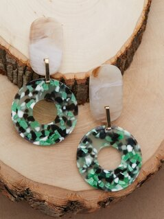 Oversized Marble Detail Drop Circle Earrings