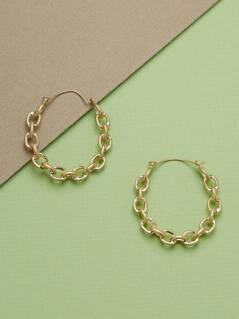 Chain Link Detail Medium Hoop Earrings