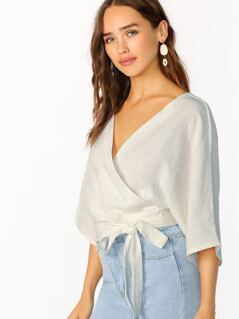 V-Neck Wrap Front Side Tie Three Fourth Sleeve Top