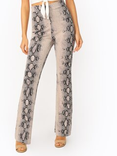 High Waist Wide Leg Back Zip Snakeskin Knit Pants