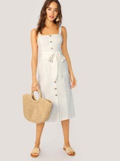 Sleeveless Button Front Waist Tie Midi Dress