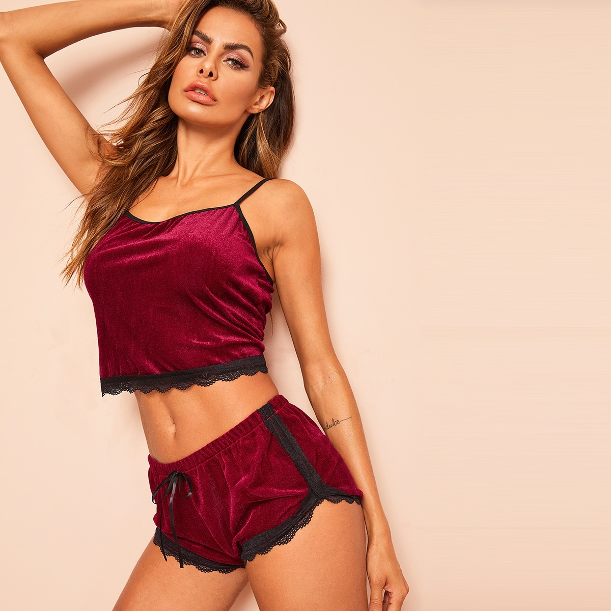 Bordeaux Sexy Lounge kleding Contract kant
