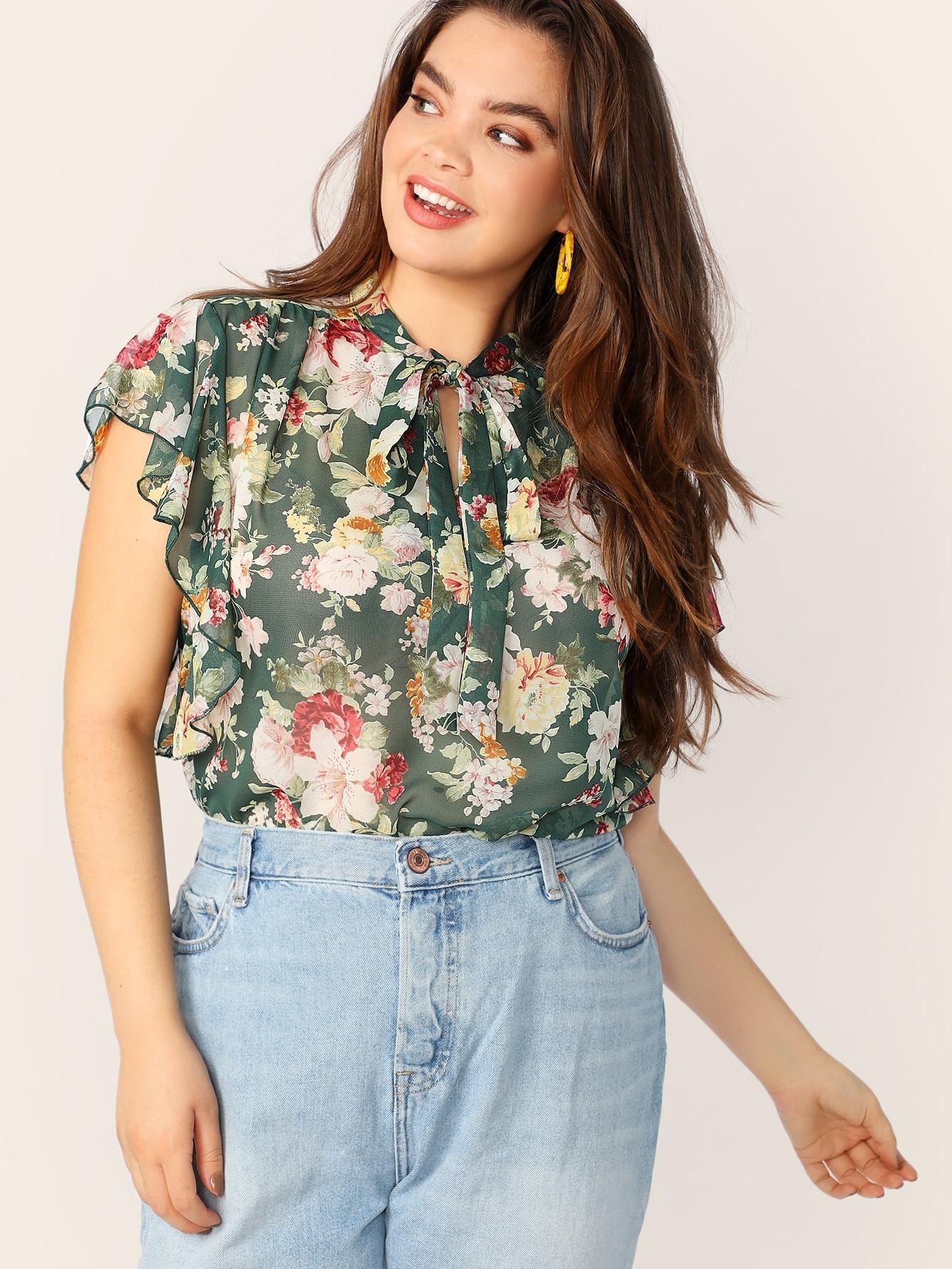 Купить Размера плюс цветочная блуза с завязкой на шее и оригинальным рукавом, Faith Bowman, SheIn