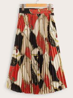 90s Scarf Print Pleated Skirt