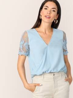 Embroidered Mesh Sleeve Elastic Hem Wrap Top