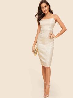 50s Split & Zip Back Floral Jacquard Cami Dress