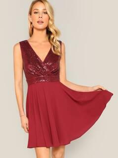 Surplice Neck Wrap Sequin Sleeveless Dress
