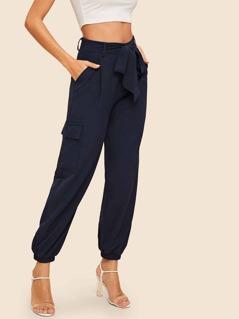 70s Tie Waist Pocket Side Lantern Pants