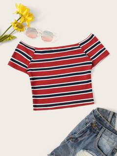 Slim Fitted Crop Striped Tee