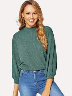 Mock-neck Drop Shoulder Rib-knit Tee