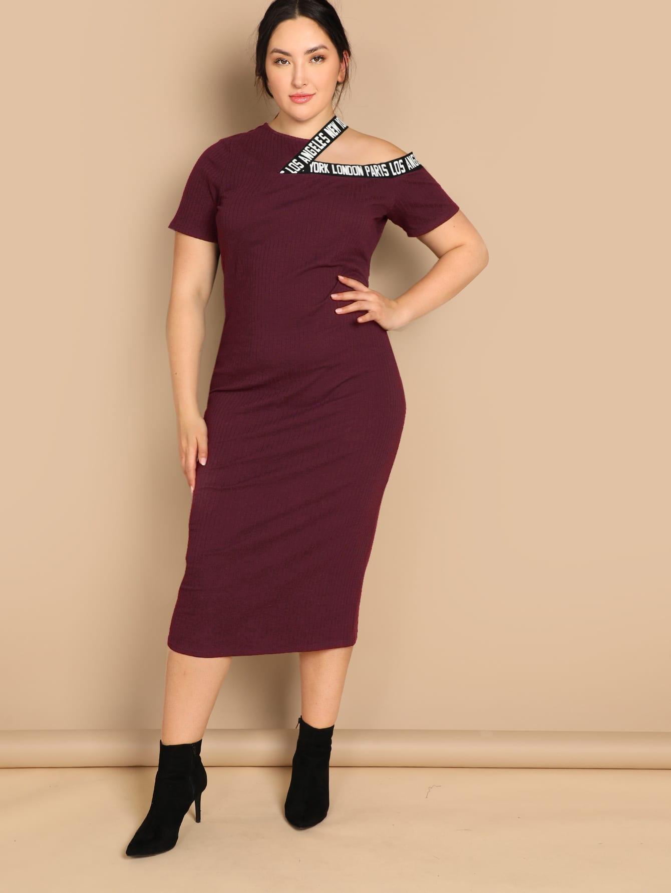 Размер плюс трикотажное платье с разрезами на плечах