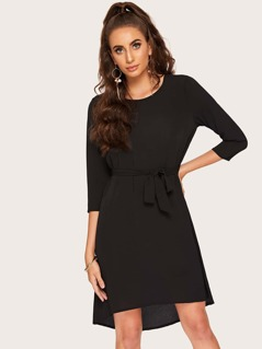 Dip Hem Tunic Dress With Belt