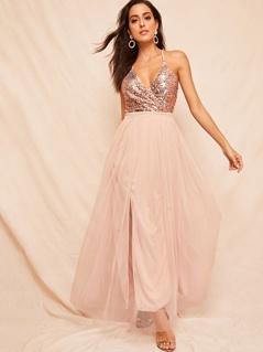 Sequin Bodice Crisscross Backless Mesh Dress