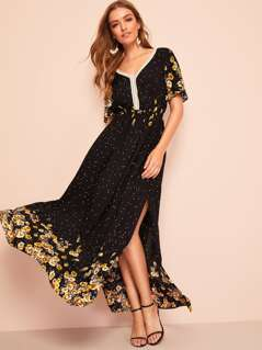 Lace Insert Split Floral Dress