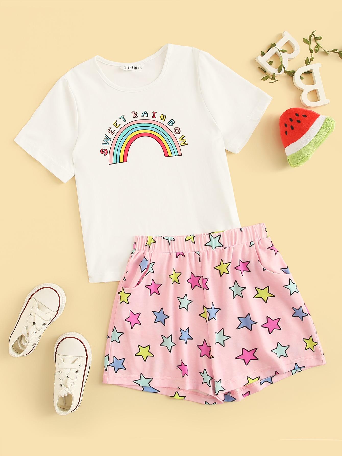 Купить Топ с текстовым и радужным принтом и шорты с звездыми пижама комплект для девочек, null, SheIn