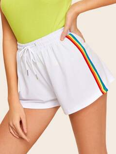 Rainbow Striped Tape Side Sweat Shorts