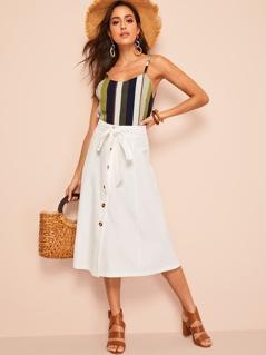 Tie Waist Button Up Skirt