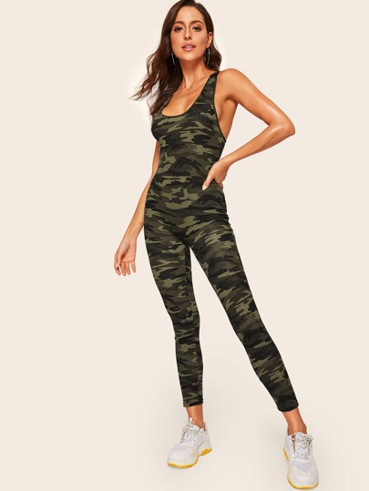 SheIn / Camo Criss-cross Backless Fitted Jumpsuit
