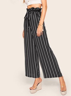 Frill Trim Wide Leg Striped Pants