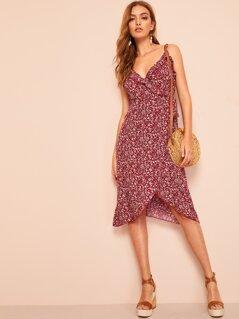 Ruffle Neckline Ditsy Floral Print Wrap Dress
