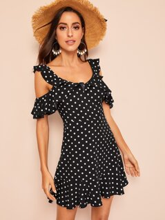 Ruffle Cold Shoulder Polka Dot Dress