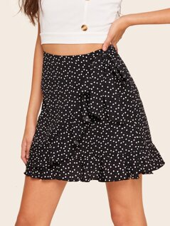 Ruffle Trim Wrap Tie Waist Skirt