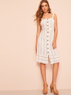 Knotted Cutout Back Button Through Striped Dress