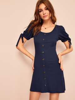 Knotted Puff Sleeve Button Up Ribbed Dress