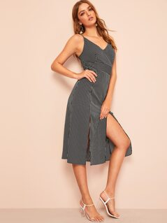 M-slit Pinstripe Cami Dress