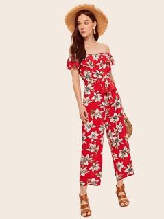 Flounce Off Shoulder Belted Floral Jumpsuit