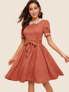 50s Contrast Lace Neck Button Front Belted Dress