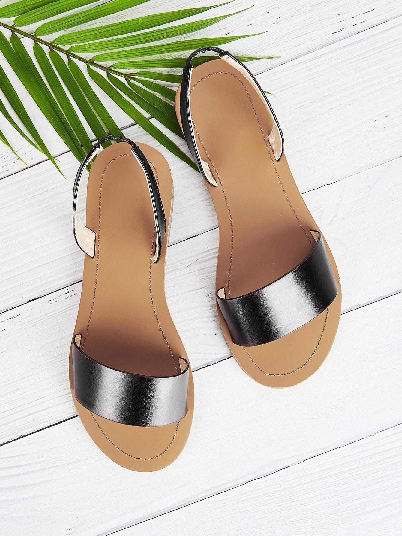 Купить Плоские сандалии из двух частей, null, SheIn