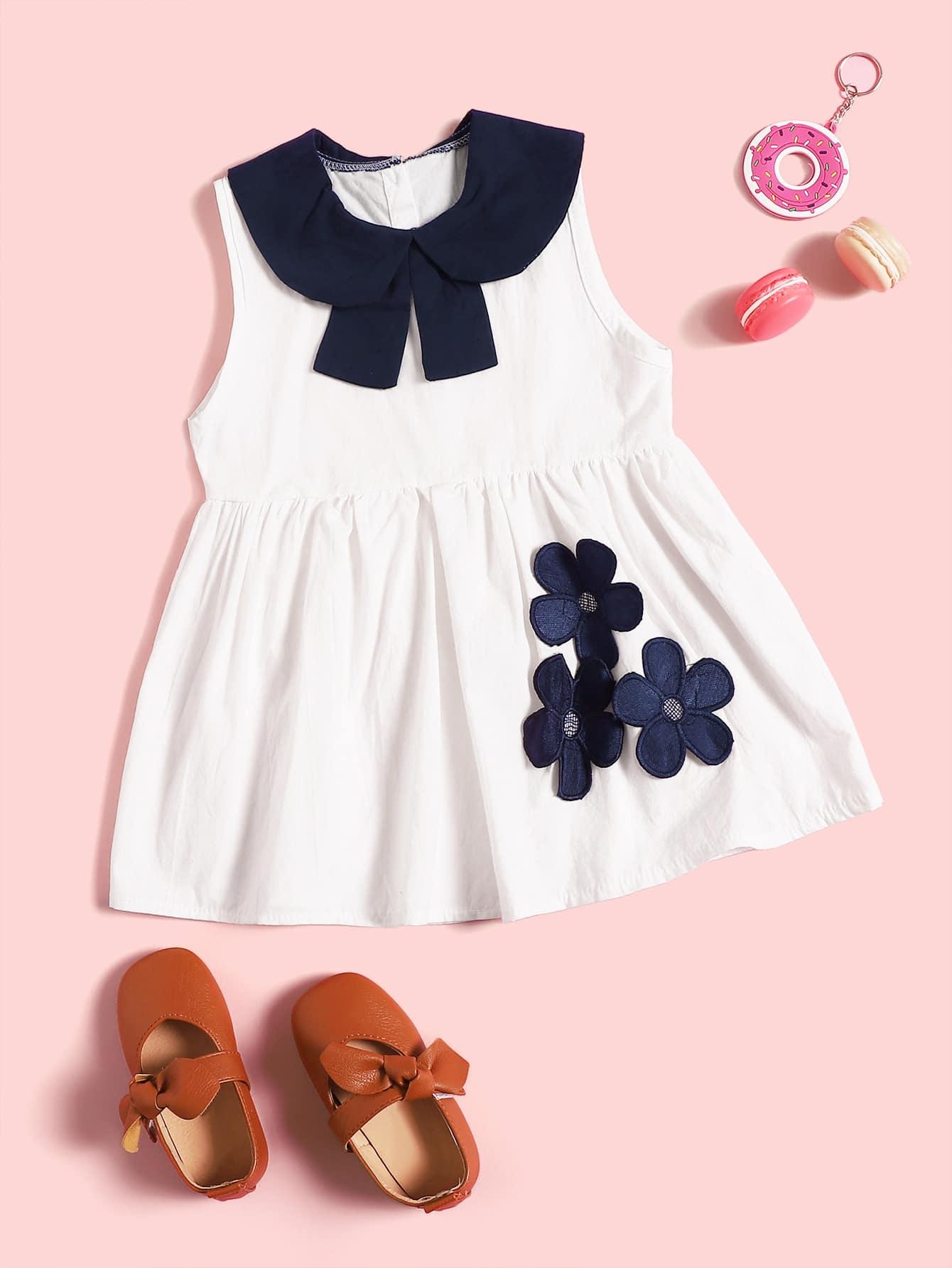 Фото - Стильное платье с оригинальным воротником и вставкой для маленьких девочек от SheIn цвет белые
