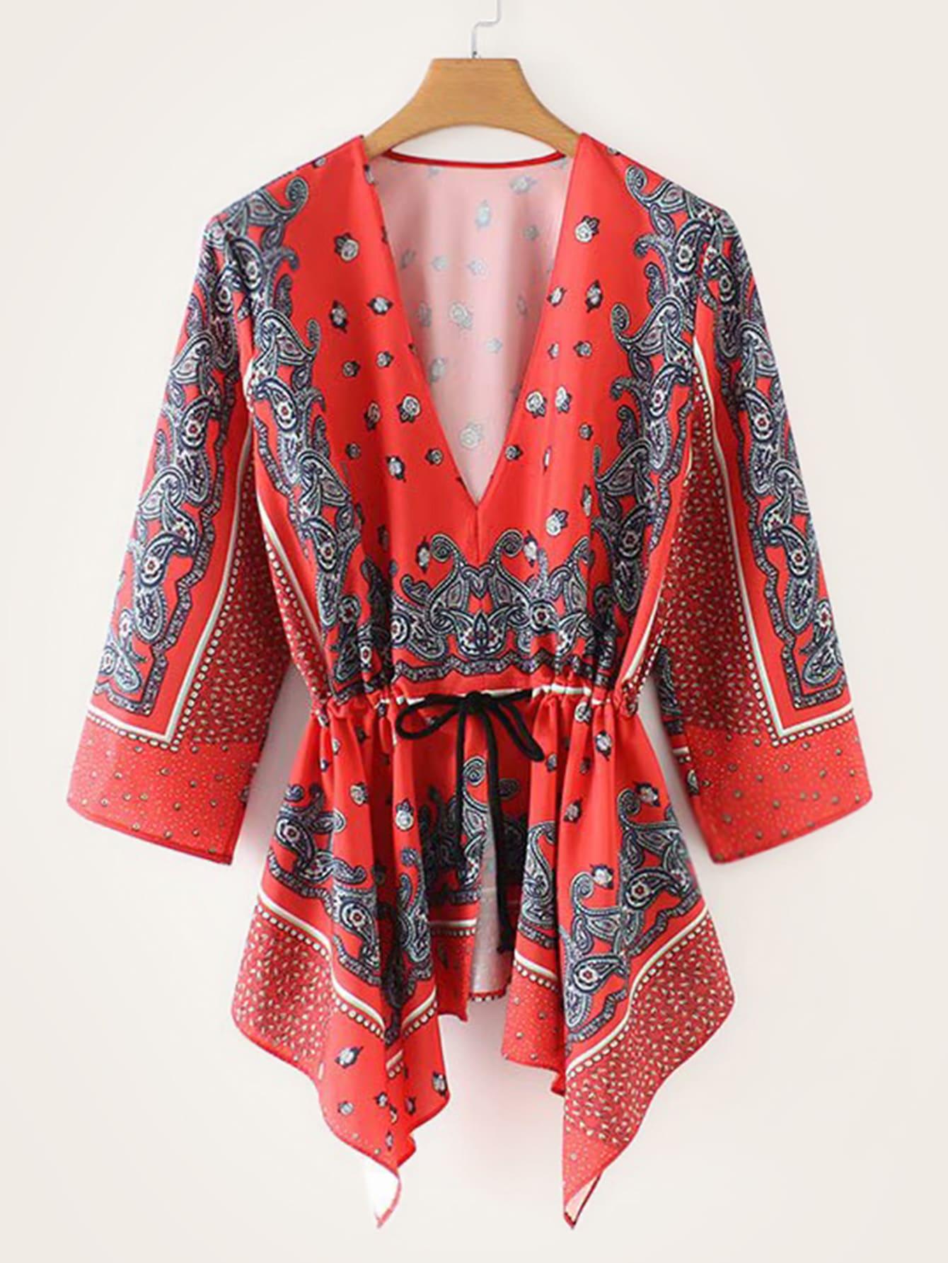 Купить Блуза с асимметричным низом и графическим принтом, null, SheIn