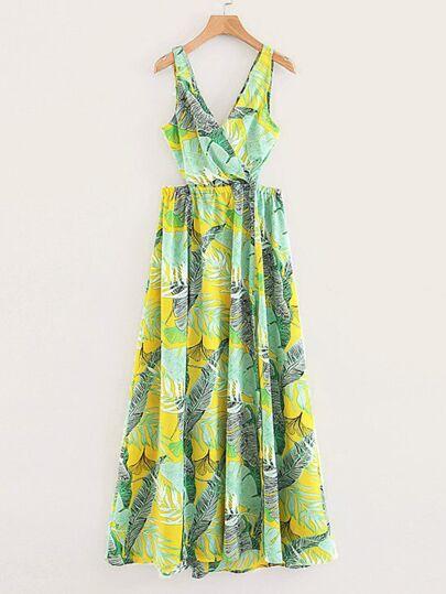 abe878cd85be Tropical Print Crossover Split Maxi Dress