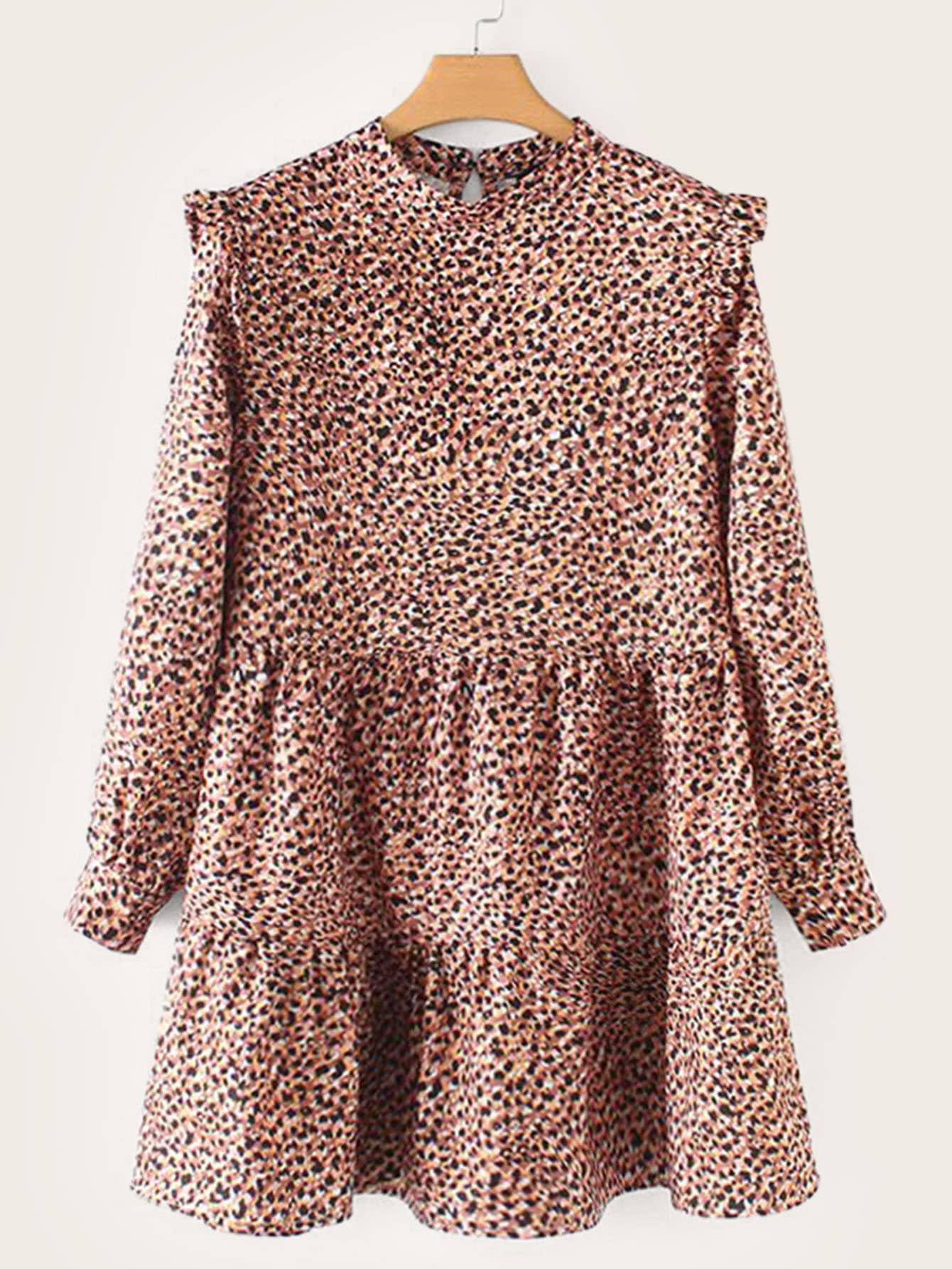Фото - Леопадовое платье с застёжкой и оборкой от SheIn цвет многоцветный