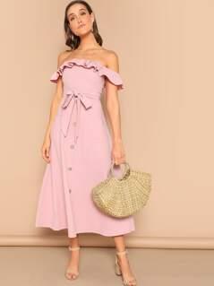 Flounce Foldover Off Shoulder Button Front Dress