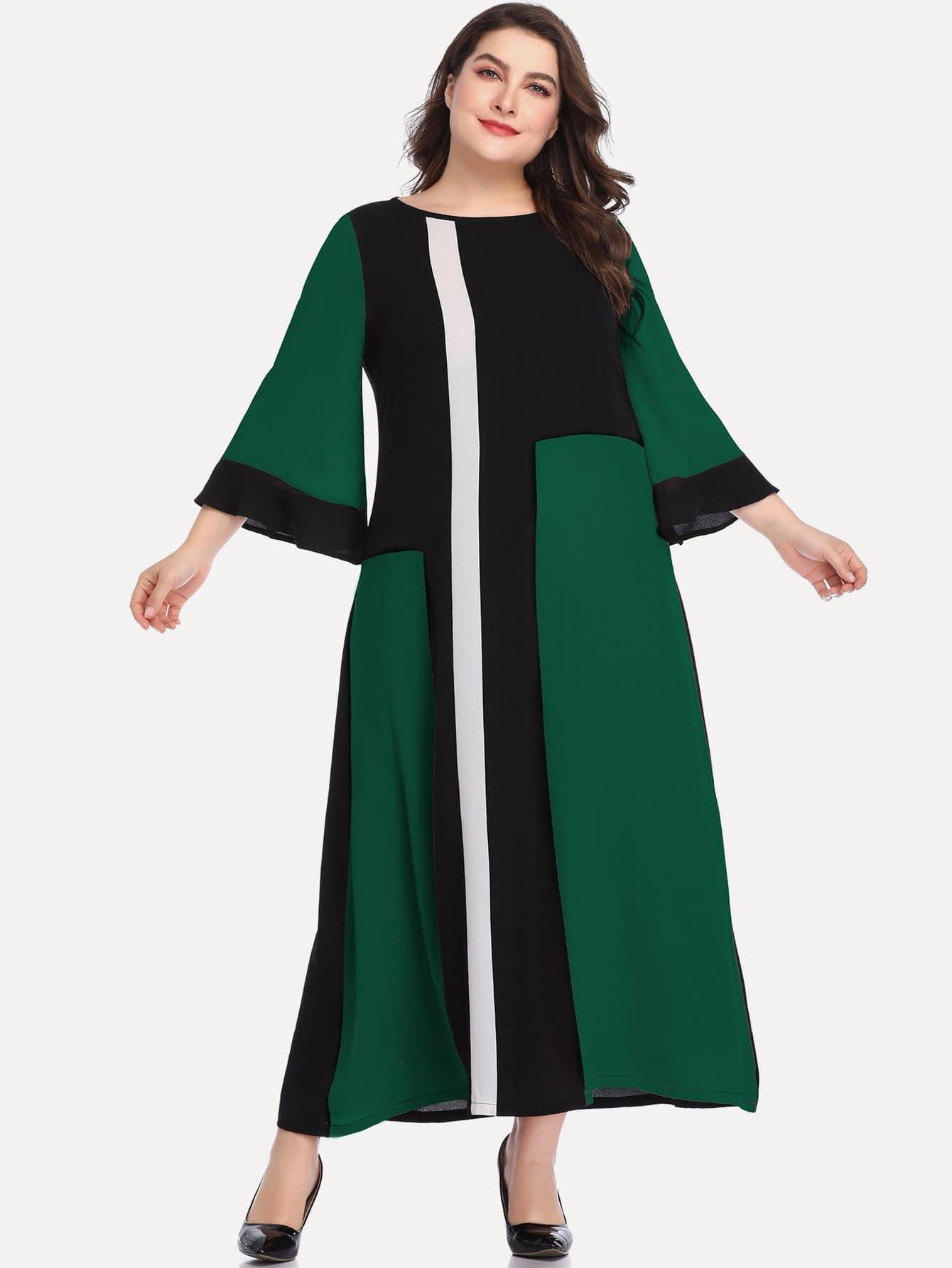 Фото - Размера плюс контрастное длинное платье от SheIn цвет многихцветные