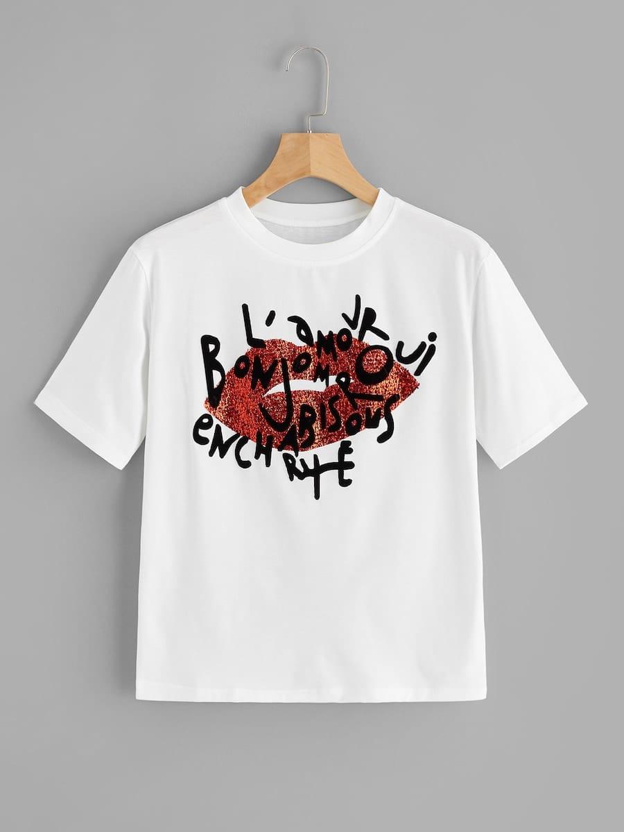 Купить Размера плюс футболка с принтом текстовым и губ, null, SheIn