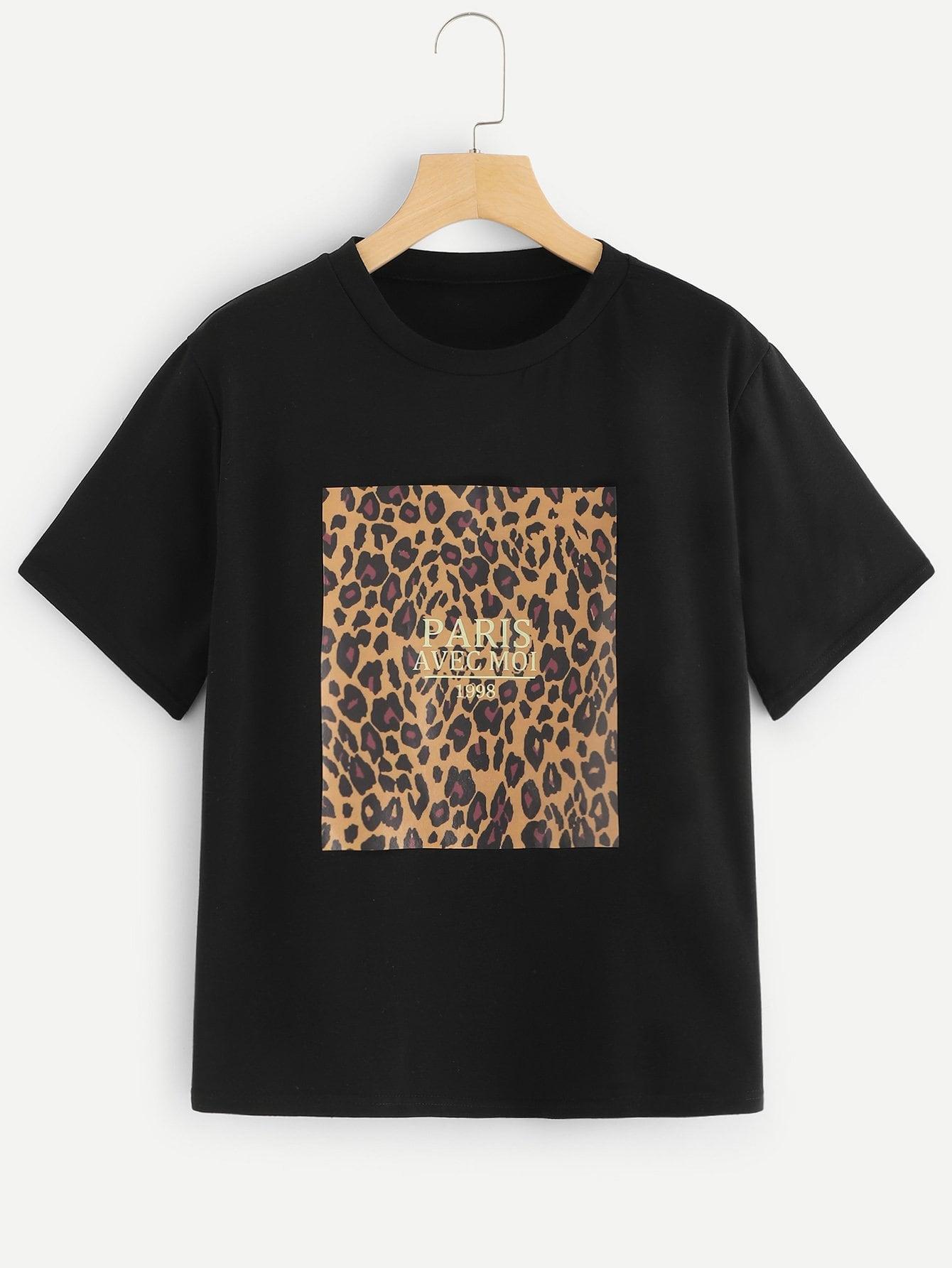 Фото - Размера плюс леопардовая футболка с текстовым принтом от SheIn цвет чёрные