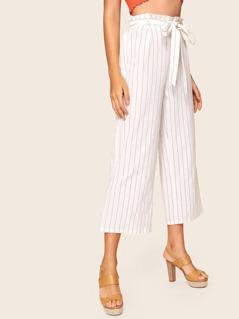Paperbag Waist Wide Leg Striped Pants