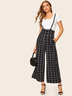 High Waist Grid Wide Leg Pants With Strap