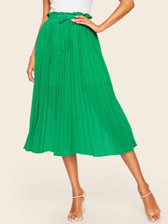 Ruffle Trim Drawstring Waist Pleated Skirt