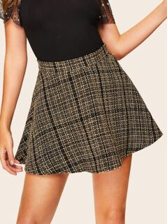 Zip Back Flared Tweed Skirt