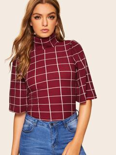 High Neck Bell Sleeve Grid Top